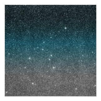 Pretty Faux Glitter Gradient in Black, Blue, White Poster