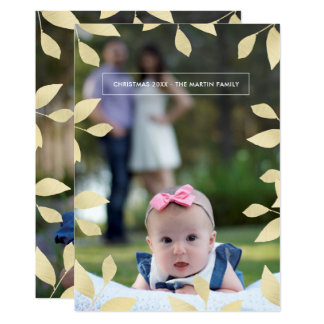 Pretty Faux Gold Leaves Christmas Photo Card