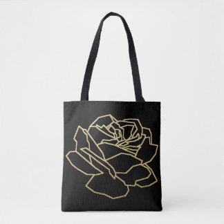 pretty faux gold rose flower, floral black tote bag