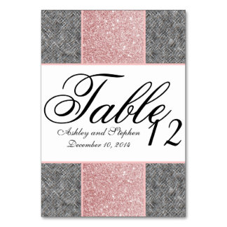 Pretty Faux Pink Glitter and Grey Fabric Card