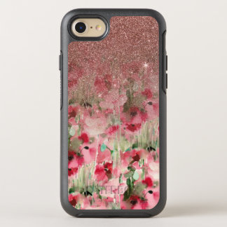 Pretty Faux Rose Gold Glitter on Watercolor Floral OtterBox Symmetry iPhone 8/7 Case
