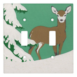 Pretty Female Brown Deer by Pine Tree in Snow Light Switch Cover