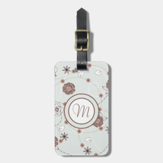 Pretty Feminine Floral Pattern in Green and Brown Luggage Tag
