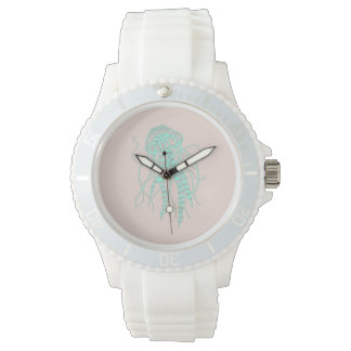Pretty, feminine girl's watch in jellyfish pattern