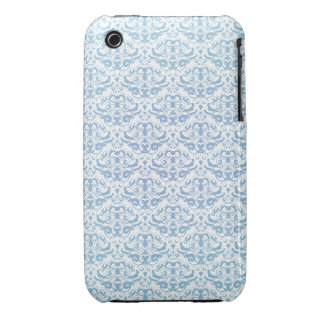 Pretty Feminine Teal Blue and White Damask Pattern iPhone 3 Case-Mate Cases