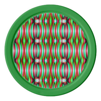 Pretty festive red green pattern poker chips set