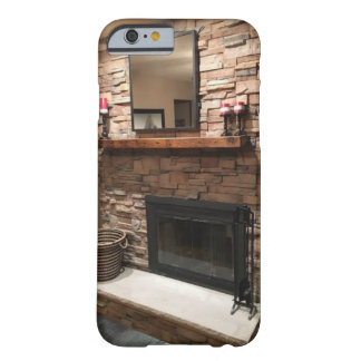 "Pretty Fireplace with ""Reclaimed Barn Wood Mantel"" Barely There iPhone 6 Case"