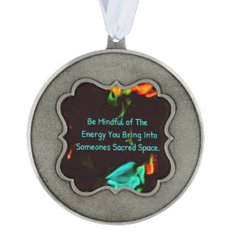 Pretty Flames Inspirational Mindfulness Scalloped Pewter Ornament