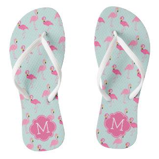 Pretty Flamingos Pattern Monogrammed Flip Flops