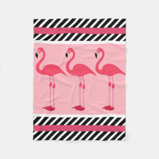 Pretty Flamingos w/Modern Patterns Fleece Blanket