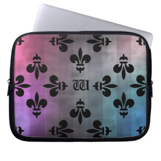 Pretty Fleur de lis pattern monogrammed Laptop Computer Sleeves