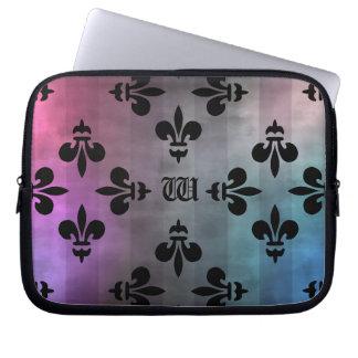 Pretty Fleur de lis pattern monogrammed Laptop Sleeve