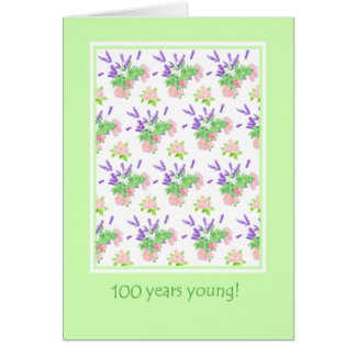 Pretty Floral 100th Birthday Greeting Card