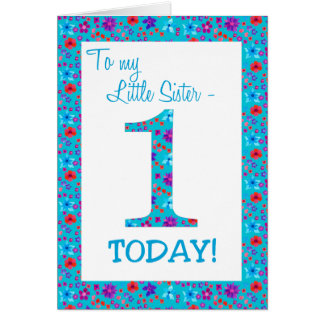 Pretty Floral 1st Birthday Little Sister Blue Card