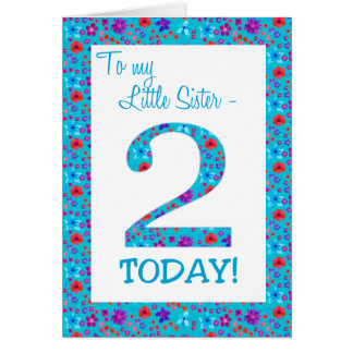 Pretty Floral 2nd Birthday Little Sister Blue Card