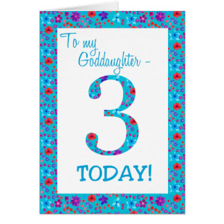 Pretty Floral 3rd Birthday for Goddaughter Blue Card