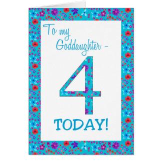 Pretty Floral 4th Birthday Card Goddaughter Blue