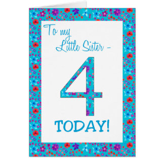Pretty Floral 4th Birthday Card Little Sister Blue