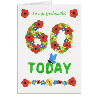 Pretty Floral 60th Birthday, for Godmother Card