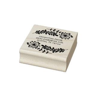 Pretty Floral Address Rubber Art Stamp