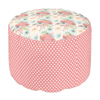 Pretty Floral and Polka Dot Pouf Seat