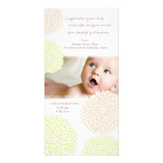 Pretty Floral Baby Birth Thank You Photo Card Photo Cards