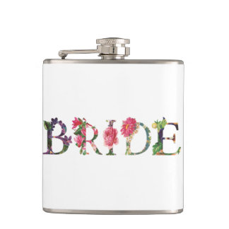 Pretty Floral Bride Vinyl Wrapped Flask