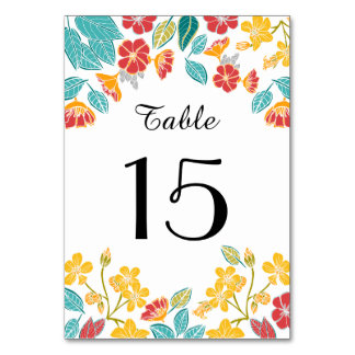 Pretty floral bright botanical table number