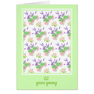 Pretty Floral Custom Age Birthday Greeting Card
