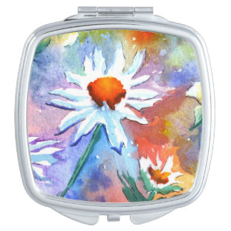 Pretty Floral Daisy Watercolour Compact Mirror