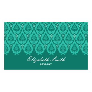 Pretty Floral Damask Blue Business Card