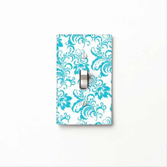 Pretty Floral Damask Flowers Blue Teal White Light Switch Cover