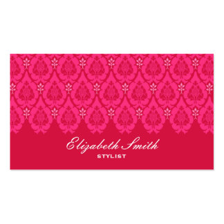 Pretty Floral Damask Pink Business Card