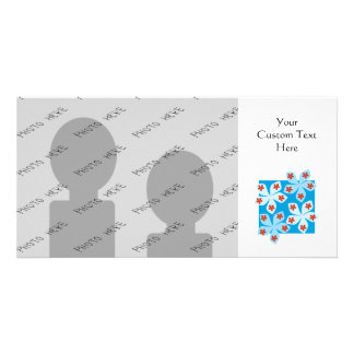Pretty floral design, blue, red and white. personalized photo card
