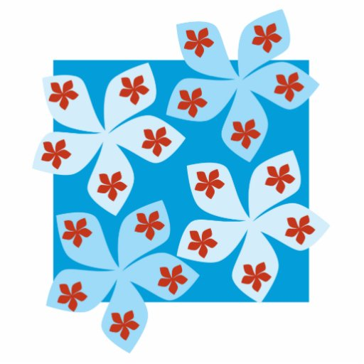 Pretty floral design, blue, red and white. cut out
