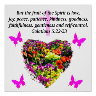 PRETTY FLORAL GALATIANS FRUITS OF THE SPIRIT POSTER