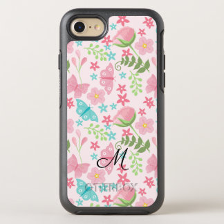 Pretty Floral Garden Theme Pattern Monogrammed OtterBox Symmetry iPhone 8/7 Case