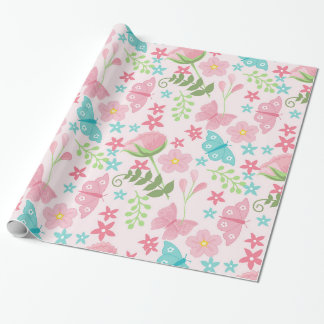 Pretty Floral Garden Theme Pattern Wrapping Paper