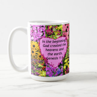 PRETTY FLORAL GENESIS 1:1 PHOTO DESIGN COFFEE MUG