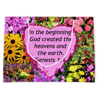 PRETTY FLORAL GENESIS 1:1 PHOTO DESIGN LARGE GIFT BAG