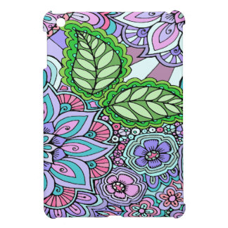 Pretty Floral Hand Drawn Doodle Pattern iPad Mini Covers