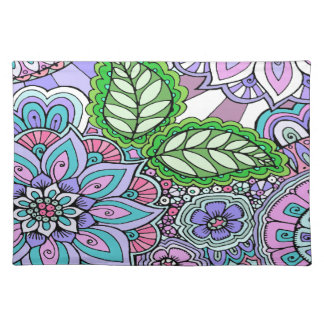 Pretty Floral Hand Drawn Doodle Pattern Placemat