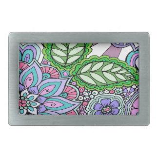 Pretty Floral Hand Drawn Doodle Pattern Rectangular Belt Buckles