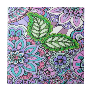 Pretty Floral Hand Drawn Doodle Pattern Tile