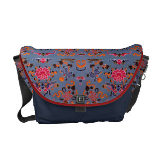 Pretty Floral in Blue and Red Messenger Bag