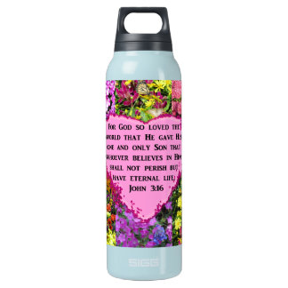 PRETTY FLORAL JOHN 3:16 PHOTO DESIGN INSULATED WATER BOTTLE