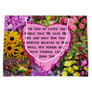 PRETTY FLORAL JOHN 3:16 PHOTO DESIGN LARGE GIFT BAG