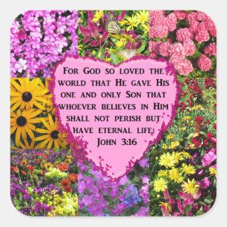 PRETTY FLORAL JOHN 3:16 PHOTO DESIGN SQUARE STICKER