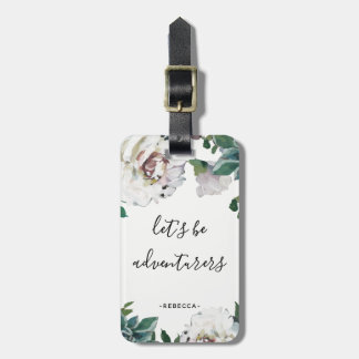 """Pretty Floral """"let's be adventurers"""" Luggage Tag"""