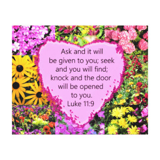 PRETTY FLORAL LUKE 11:9 SCRIPTURE DESIGN CANVAS PRINT